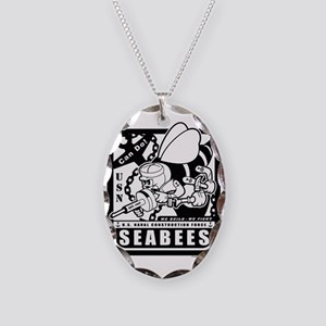 seabees retro black ink Necklace Oval Charm