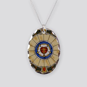 luther rose window round ornam Necklace Oval Charm