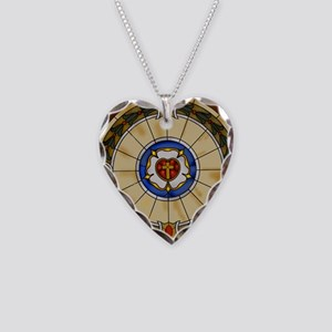 luther rose window round orna Necklace Heart Charm