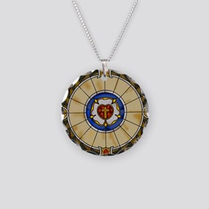 luther rose window round orn Necklace Circle Charm