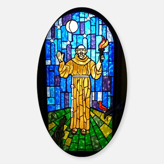 St. Francis Stained Glass Sticker (Oval)