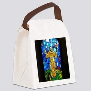 St. Francis Stained Glass Canvas Lunch Bag