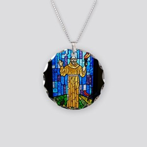 St. Francis Stained Glass Necklace Circle Charm