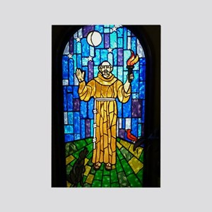 St. Francis Stained Glass Rectangle Magnet