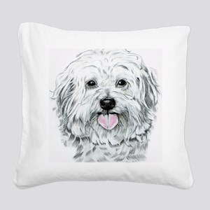 white havenese Square Canvas Pillow