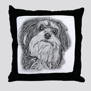 havenese black and white Throw Pillow