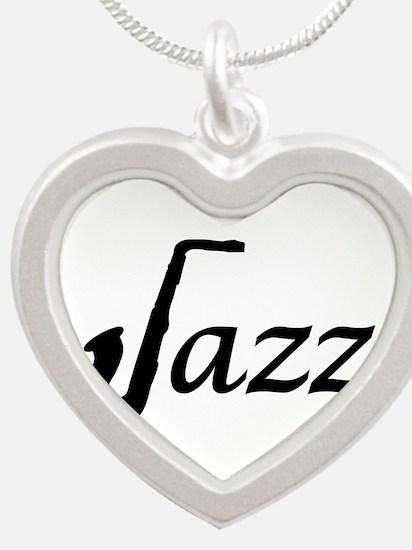 Jazz Saxophone Silver Heart Necklace