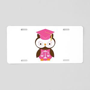 Graduate Law Student Owl Aluminum License Plate