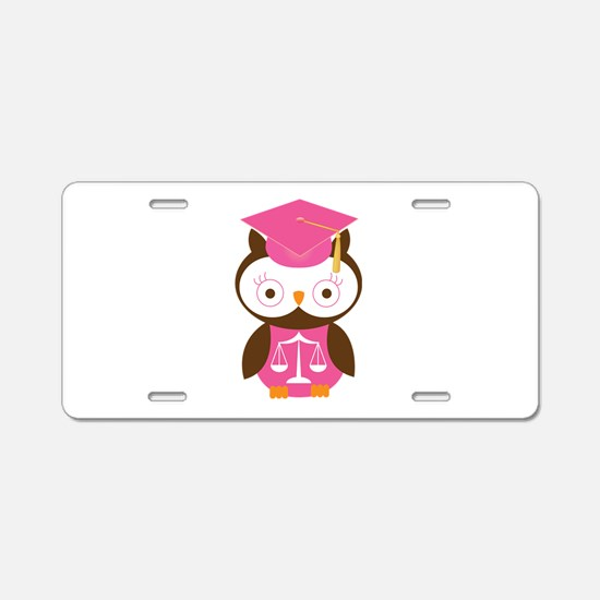 Graduate Law Student Owl Aluminum License Plate