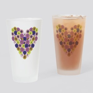 Pansy Heart Drinking Glass