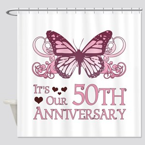 50th Wedding Aniversary (Butterfly) Shower Curtain