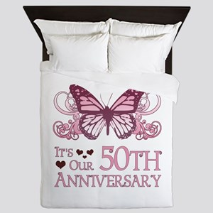 50th Wedding Aniversary (Butterfly) Queen Duvet