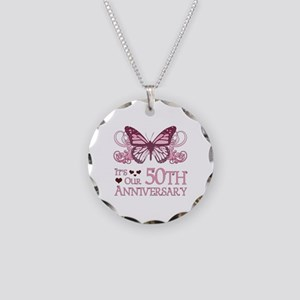50th Wedding Aniversary (Butterfly) Necklace Circl