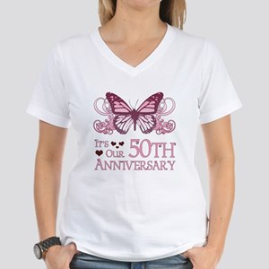 50th Wedding Aniversary (Butterfly) Women's V-Neck