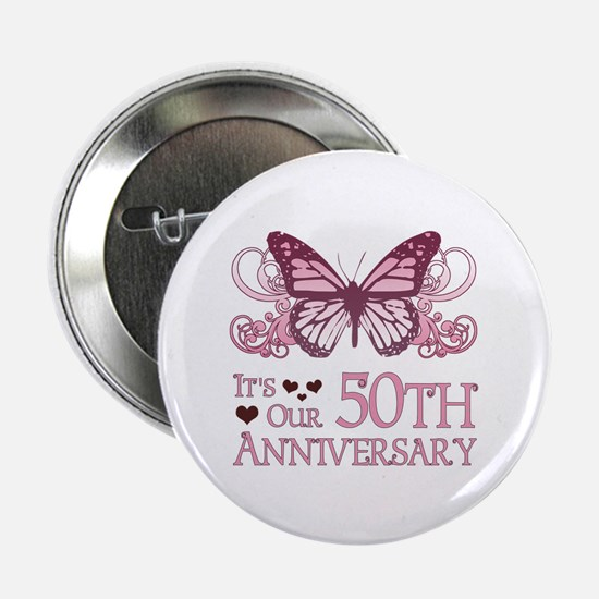 """50th Wedding Aniversary (Butterfly) 2.25"""" Button"""