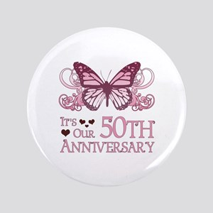 """50th Wedding Aniversary (Butterfly) 3.5"""" Button"""