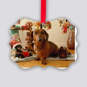 ChristmasDoxie1Card Picture Ornament