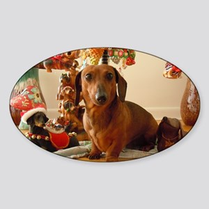 ChristmasDoxie1Pillow Sticker (Oval)