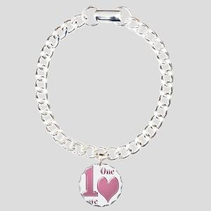 1 love 1 heart pink10x10 Charm Bracelet, One Charm