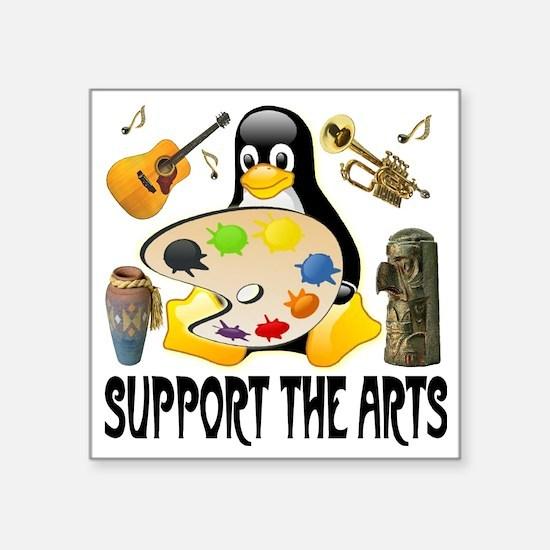 "penguin_support_the_arts_pa Square Sticker 3"" x 3"""