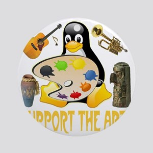 support_the_arts_penguin_collage_tr Round Ornament