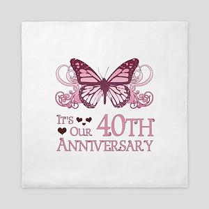 40th Wedding Aniversary (Butterfly) Queen Duvet