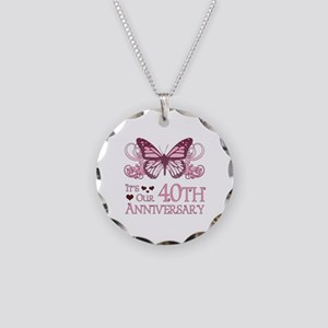 40th Wedding Aniversary (Butterfly) Necklace Circl