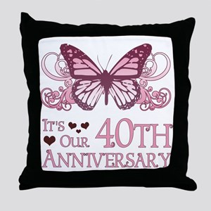 40th Wedding Aniversary (Butterfly) Throw Pillow