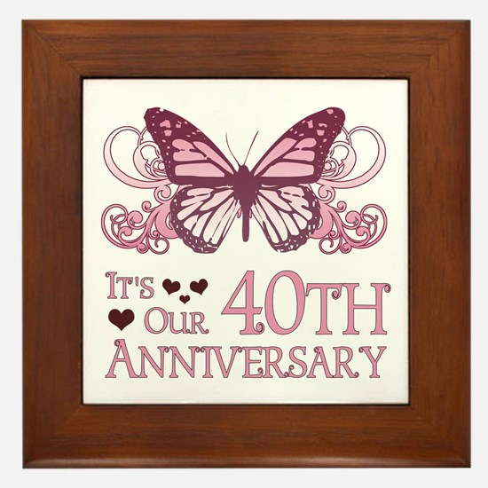 40th Wedding Aniversary (Butterfly) Framed Tile