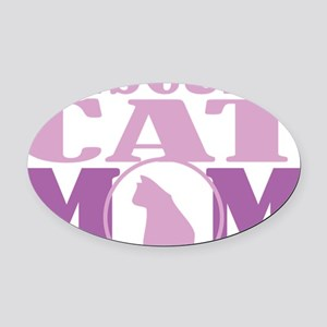 Rescued-Cat-Mom Oval Car Magnet