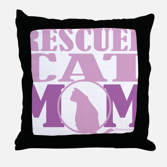 Rescued-Cat-Mom Throw Pillow