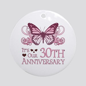 30th Wedding Aniversary (Butterfly) Ornament (Roun