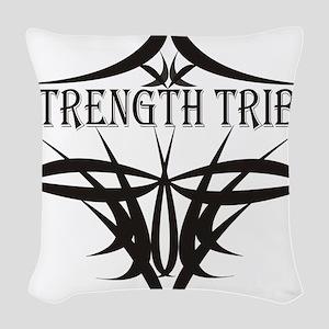 StrengthTribeLogo1black Woven Throw Pillow