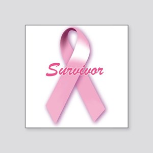 Breast Cancer Survivor Ribbon Rectangle Sticker