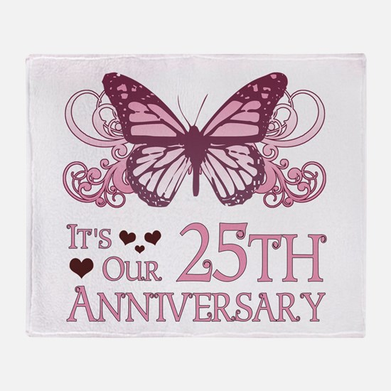 25th Wedding Aniversary (Butterfly) Throw Blanket