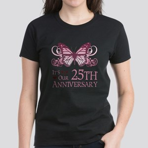 25th Wedding Aniversary (Butterfly) Women's Dark T
