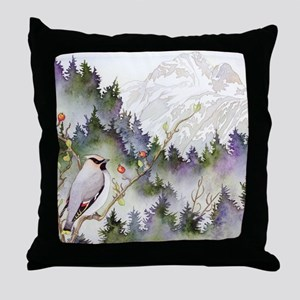 waxwingSQUARE Throw Pillow
