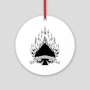 spade flames black Round Ornament