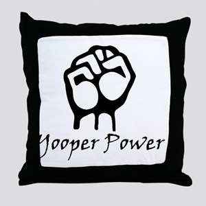 Blk_Yooper_Power_Fist Throw Pillow
