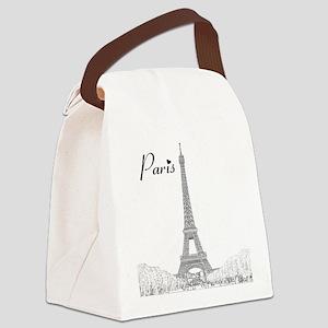 EiffelTower_10x10_apparel_BlackOu Canvas Lunch Bag