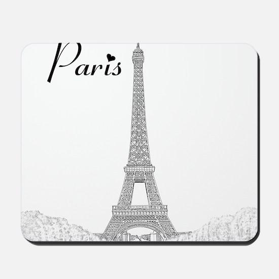 EiffelTower_10x10_apparel_BlackOutline Mousepad
