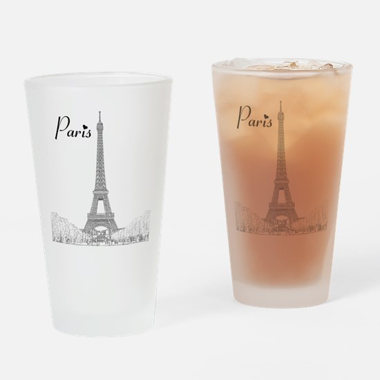 EiffelTower_10x10_apparel_BlackOutl Drinking Glass