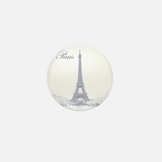 EiffelTower_10x10_apparel_BlueOutline Mini Button