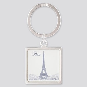 EiffelTower_10x10_apparel_BlueOutl Square Keychain