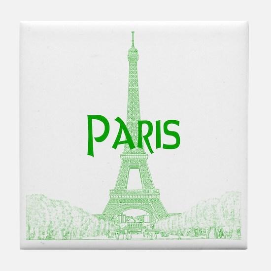 EiffelTower_10x10_apparel_GreenOutlin Tile Coaster