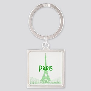 EiffelTower_10x10_apparel_GreenOut Square Keychain