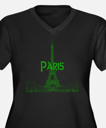 EiffelTower_ Women's Plus Size Dark V-Neck T-Shirt