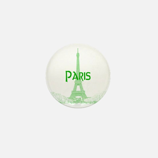 EiffelTower_10x10_apparel_GreenOutline Mini Button