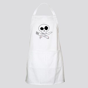 White Foodie Skull BBQ Apron