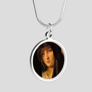 Madonna by Il Sassoferrato Silver Round Necklace
